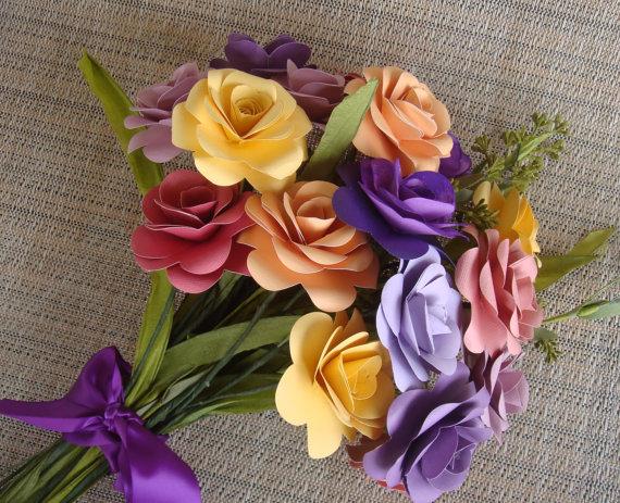 Цветы из бумаги на 8 марта, букет невесты из мелких цветов